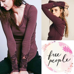 Free People Masquerade Cuff Thermal Shirt